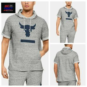 Size Medium Under Armour Project Rock Terry Short Sleeve Hoodie Gray 1345818-112